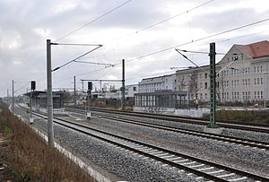 Pirna–Coswig railway - Completed facilities in Radebeul Ost station, to the left are the S-Bahn tracks with an island platform, to the right are the long-distance tracks (December 2013)