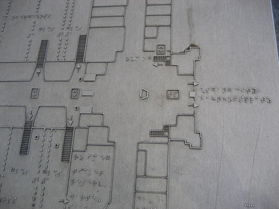 Bahnhofsplan für Blinde, Hannover Hbf, Ausschnitt Eingangsbereich