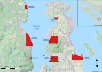 Bamberton - Location of Bamberton and the surrounding First Nation Reserves.