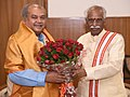 Bandaru Dattatreya meeting the Union Minister for Rural Development, Panchayati Raj, Drinking Water and Sanitation, Shri Narendra Singh Tomar, in New Delhi.jpg