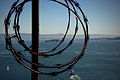 Barbed tape and Alcatraz seen from the Golden Gate bridge in San Francisco 141.jpg
