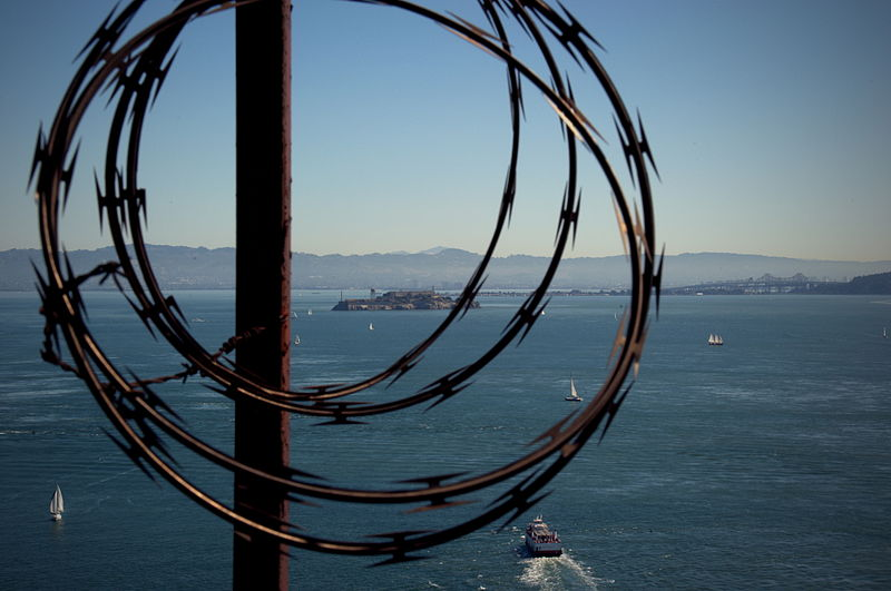 File:Barbed tape and Alcatraz seen from the Golden Gate bridge in San Francisco 141.jpg