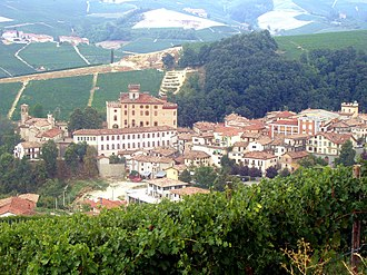 Italian wine - Vineyards around the town of Barolo.