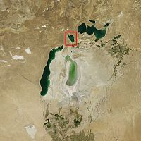 Barsa-kelmes Lake in Aral Sea 2011.jpg