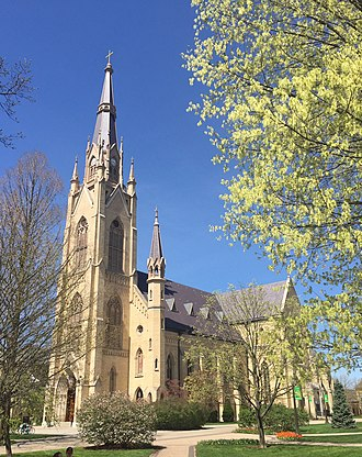 Basilica of the Sacred Heart, Notre Dame - Image: Basilica of the Sacred Heart, ND front view