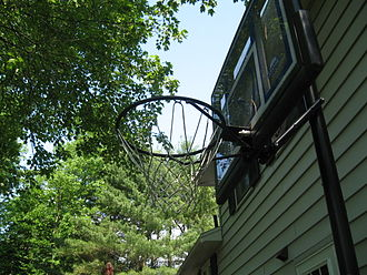 Backboard (basketball) - Typical privately owned basketball hoop with backboard