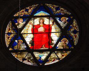 Deutsch: Fensterverglasung mit Christus-Bild