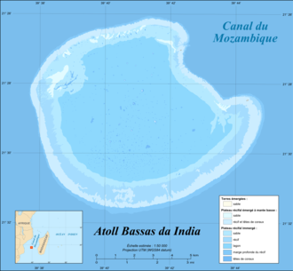 Bassas da India - Image: Bassas da India atoll map fr