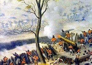 Soldados paraguaios em Curupaiti atirando de uma trincheira contra as tropas aliadas.