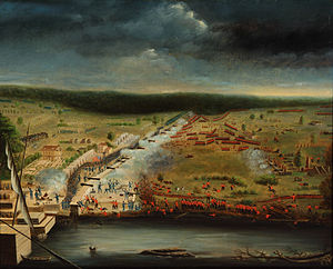 Battle of New Orleans - 1815 painting of the battle by participant Jean Hyacinthe de Laclotte of the Louisiana Militia based on his memories and sketches made at the site