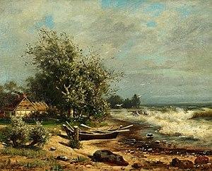 Lina von Perbandt - Image: Beach Scene with Rowing Boat by Lina von Perbandt