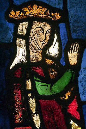 Beatrice of Falkenburg - The stained-glass window depicting Beatrice as benefactress to the Franciscans is the only surviving portrait of her. It is now part of the Burrell Collection.