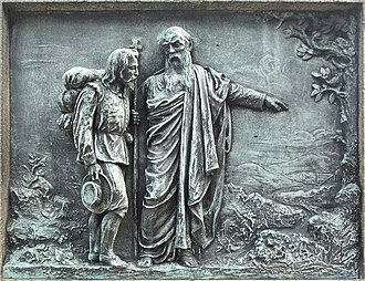 Statue of John Bunyan, Bedford - Image: Bedford Bunyan Statue Relief 1