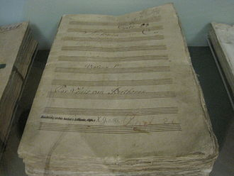 Beethoven concert of 22 December 1808 - The hand-copied parts used for the premiere of Beethoven's Fifth Symphony. They include corrections hand-entered by the composer, and are on display in the Lobkowitz family museum in Prague.