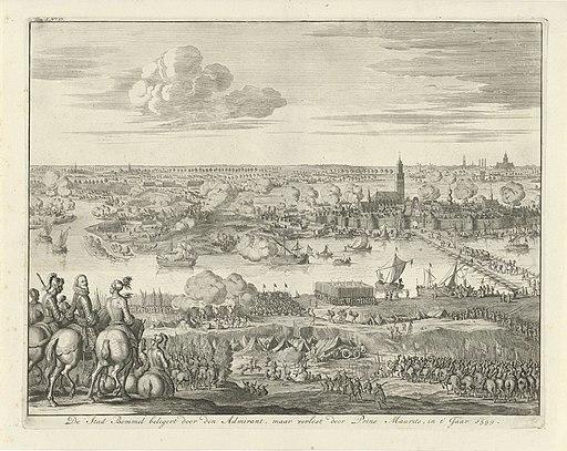 Beleg van Zaltbommel door Mendoza, 1599 De Stad Bommel belegert door den Admirant, maar verlost door Prins Maurits, in t' Jaar 1599 (titel op object), RP-P-OB-44.123