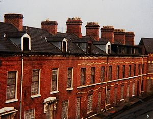 1907 Belfast Dock strike - Belfast's working class population typically lived in red brick terraced houses similar to these in Pakenham Street, south Belfast