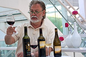 "Browning in red wine - ""Swedish wine expert Bengt Frithiofsson tasting Chinese red wine. By Tobias Andersson Åkerblom."""