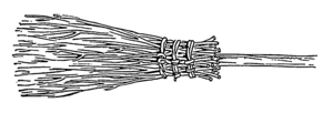 Line art drawing of a besom broom.