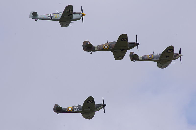 File:Bf109, Hurricane and Spitfires at RIAT Fairford 2010 Flickr 4824821371.jpg