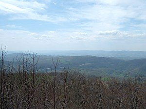 Cheat Mountain - View of US 33 crossing Cheat Mountain (in distance).