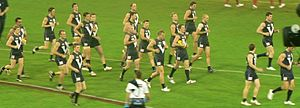 Victoria Australian rules football team - The Big V running out for the AFL Hall of Fame Tribute Match in 2008.  (From left to right – Luke Power, Adam Goodes, Robert Murphy, Darren Milburn, Scott Pendlebury, Heath Shaw, Troy Simmonds, Trent Croad, Paul Chapman, Josh Fraser, Jimmy Bartel, Brent Harvey, Ryan O'Keefe, Sam Mitchell, James Kelly, Jarrad Waite, Chris Judd, Jonathan Brown, Daniel Bradshaw.)