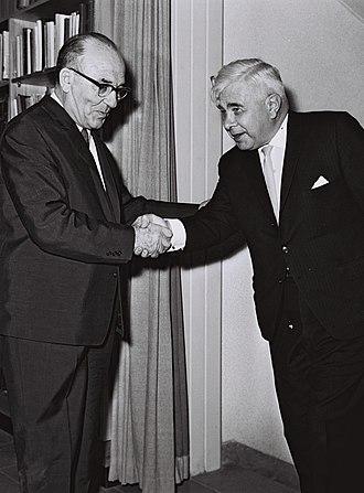 Bjarni Benediktsson (born 1908) - Bjarni (right) with Prime Minister of Israel Levi Eshkol in 1964.