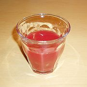 A glass of Sanguinello blood orange juice.
