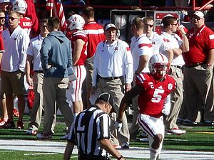Bo Pelini - Bo Pelini along the sideline (Nebraska vs. Rutgers, 2014).