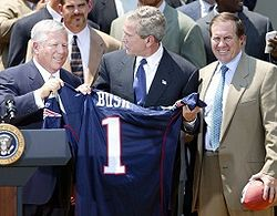 Kraft and Bill Belichick with the last three Presidents, Bush (pictured in May 2004), Obama (pictured in April 2015) and Trump (pictured in April 2017) at the Patriots' respective White House ceremonies