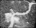 Bombing of Viet Cong structures along a canal in South Vietnam. - NARA - 542296.tif