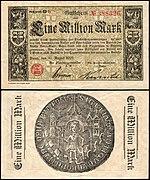Noodbiljet met een nominale waarde van 1 miljoen mark, uitgegeven in 1923 door de stad Bonn