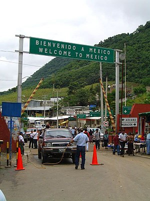Guatemala–Mexico border - Entrance to Mexico in the Ciudad Hidalgo border crossing
