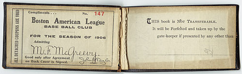 A season pass for the 1906 season. Boston Americans season pass, 1906.jpg
