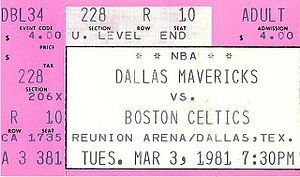 1980–81 NBA season - A ticket for a March 1981 game between the Dallas Mavericks and the season's eventual champions Boston Celtics.