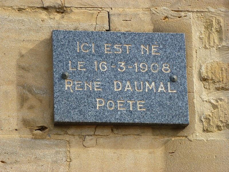 File:Boulzicourt (Ardennes) plaque maison natale René Daumal.JPG