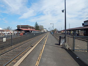 Bound Brook station - Bound Brook station in April 2015, looking east along the south platform