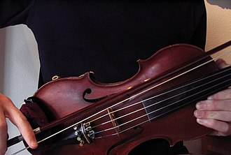 Bowed string instrument extended technique - Bowing the bridge, second method.