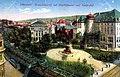Brausenwerther Platz mit Stadttheater, Badeanstalt, Kaiserhof und Kaiser-Wilhelm-Denkmal, Postkarte, Elberfeld um 1910.JPG