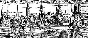 Schlachte (Bremen) - Woodcut by Hans Weigel (c. 1550)