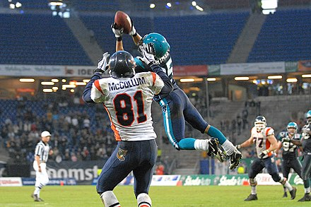 Cornerback Brent Grimes of the Hamburg Sea Devils intercepts a pass Brent Grimes-Hamburg Sea Devils.jpg