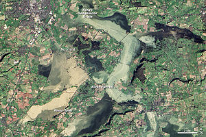 Winter flooding of 2013–14 on the Somerset Levels - NASA Satellite image of flooding on the Somerset Levels