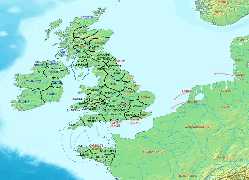 La révolte de Boudicca a lieu deux ans plus tôt, les Romains sont chassés de Bretagne. 800px-Britain_500_CE