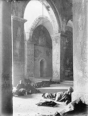 British wounded at Kuryet el Enab monastery 1917 IWMbphotoQ 012628