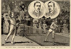 Tennis players William and Ernest Renshaw on a postal card, around 1890