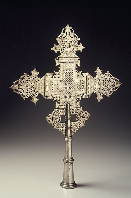 Processional crosses carried on long poles in Ethiopian Orthodox religious processions Brooklyn Museum 2000.123.1 Processional Cross.jpg