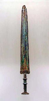A model of a sword from the Bronze Age discovered in the 2000s in the Maine riverbed Brozen Sword.jpg