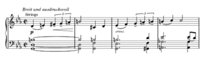 Symphony No. 8 (Bruckner) - The beginning of the second principal theme of the first movement: the Bruckner rhythm occurs in the melody in the first and third bars