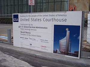 Robert H. Jackson United States Courthouse - Image: Buff fed courthouse sign