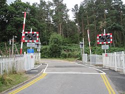 Bunchrew Level Crossing with new barriers (9569319901).jpg