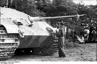 Glacis - The angles of the upper and lower glacis plates are pronounced on this German World War II Tiger II heavy tank